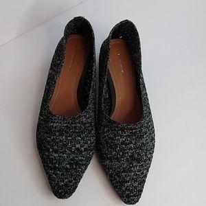 Zara woven black silver kitten heel size 37 Flats